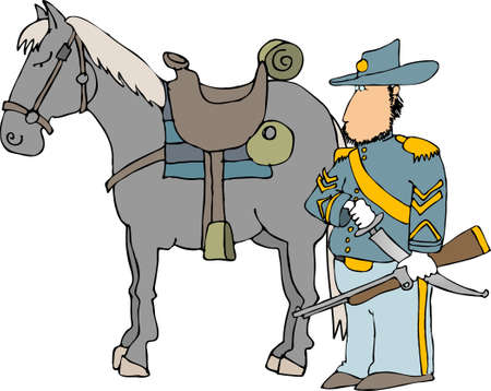 cavalry: American civil war cavalry officer and horse