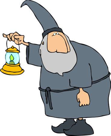 Wizard with a lantern Reklamní fotografie - 409370