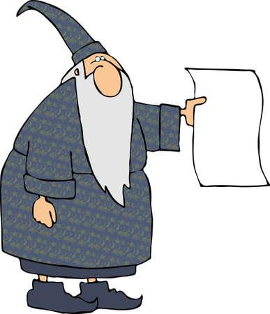 Wizard with a blank sign Reklamní fotografie - 402803
