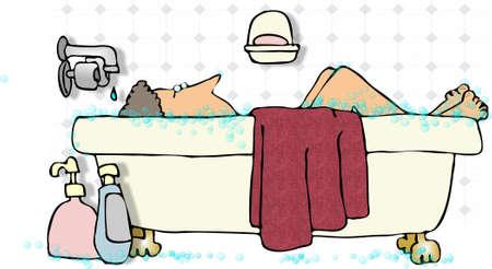 soak: Woman in a bathtub