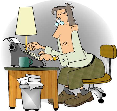 Man met behulp van een schrijfmachine