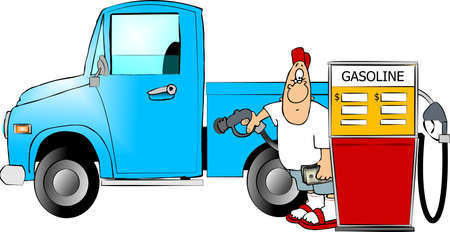 gas nozzle: Man filling a truck with gas