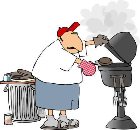 Man barbequeing burgers