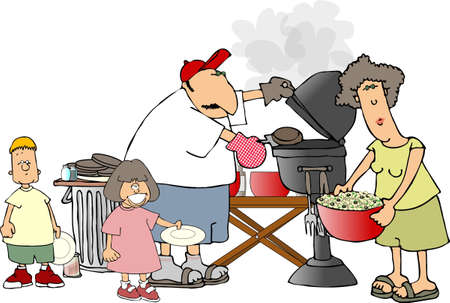 Family BBQ Stock Photo