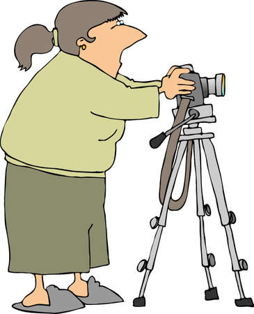 Photographer with a camera on a tripod Imagens