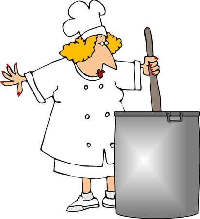stockpot: Female chef stirring large stockpot Stock Photo