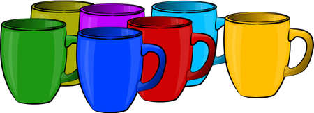 Colored coffee cups Stok Fotoğraf