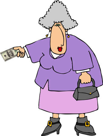 old people: Woman holding out a $100 bill Stock Photo