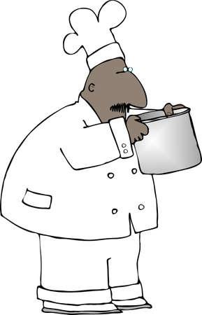 chef caricatura: Chef oler una olla