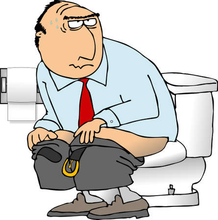Man sitting on a toilet photo