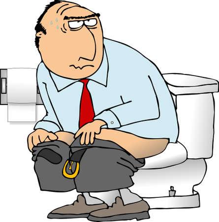 Man sitting on a toilet 스톡 콘텐츠
