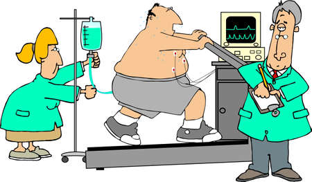medico caricatura: Prueba de esfuerzo
