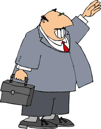 attache: Businessman waving
