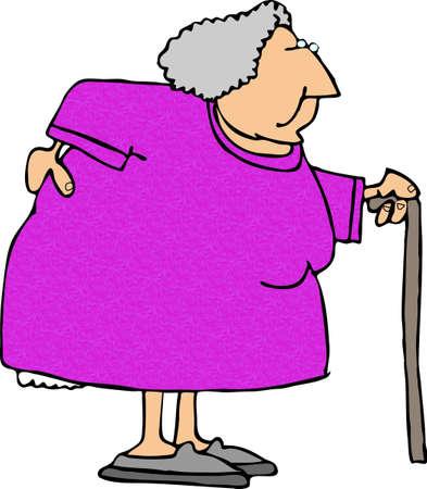 Oude vrouw met een pijnlijke rug