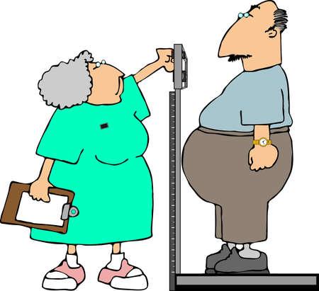 lpn: Man being weighed by a nurse