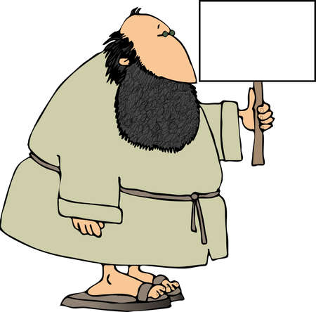 Bearded man with a blank sign