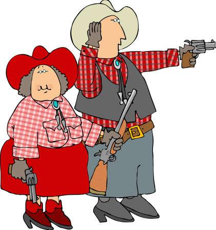 girl with gun: Man & woman shooting guns