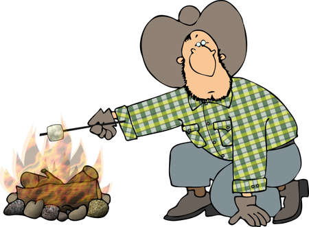 bonfire: Cowboy roasting a marshmallow Stock Photo