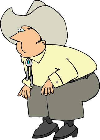 bent: Cowboy bent at the knees Stock Photo