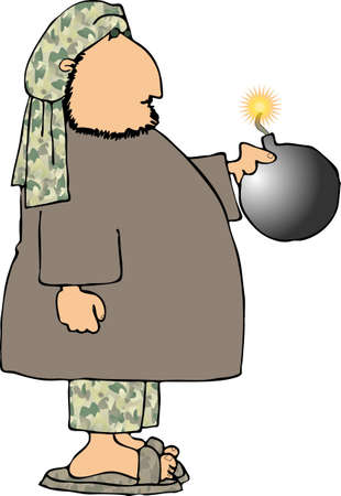 bomb: Man with a bomb Stock Photo