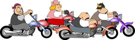 Four bikers Stock Photo
