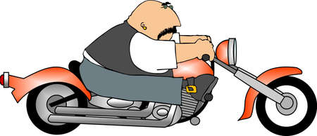 cartoon biker: This illustration depicts a man riding a motorcycle. Stock Photo
