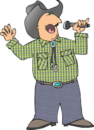 Cowboy with a microphone photo