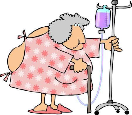 病院のガウンを着ている女性。