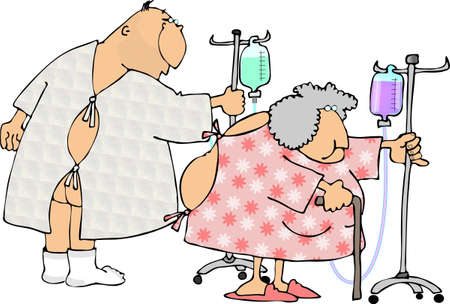 hospital gown: Man and woman in hospital gowns.