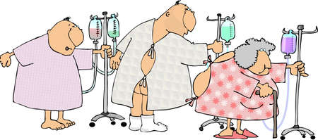 Two man and a woman in hospital gowns.