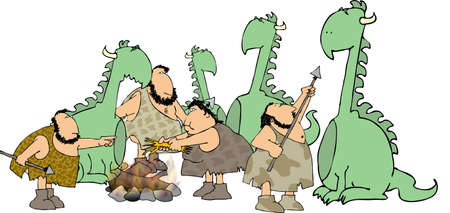 Cavemen & woman with dinosaurs photo