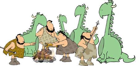 Hombres de las cavernas y mujer con los dinosaurios Foto de archivo - 484198
