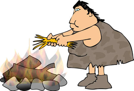 neanderthal women: Cavewoman and a campfire