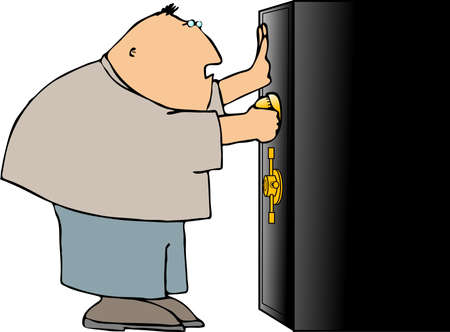 Man opening a safe