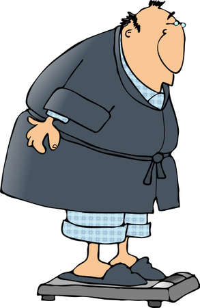 Deze illustratie toont een man in een badjas en pyjama staande badkamer schalen.
