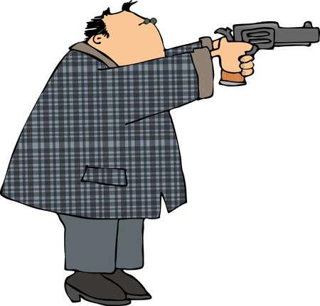 hombre disparando: El hombre disparar una pistola