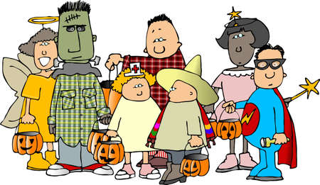 Group of Halloween kids 1 Banco de Imagens