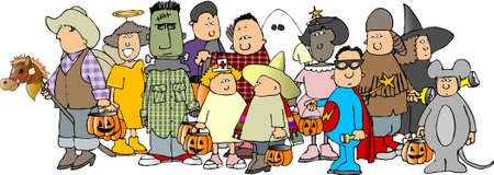 Group of Halloween kids 3 Banco de Imagens