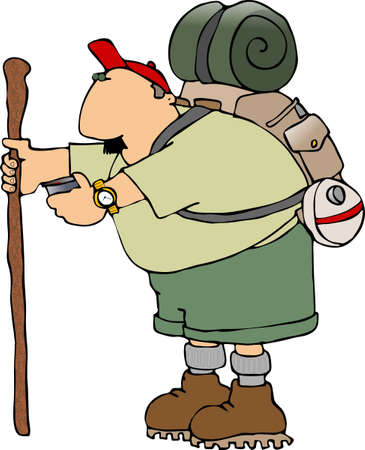 depicts: Hiker with a walking stick