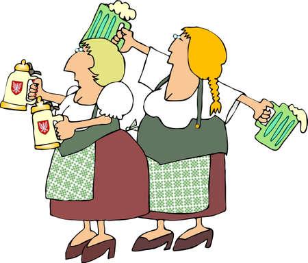 lass: German Beer Maidens Stock Photo