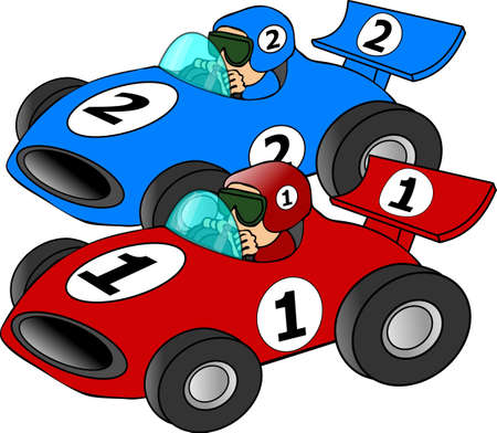 This illustration depicts 2 cars racing.