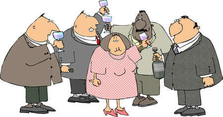 depicts: This illustration depicts a group of people making a toast with wine glasses.