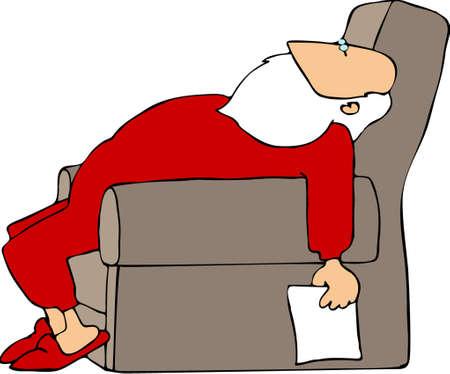 people sleeping: Tired Santa Illustration