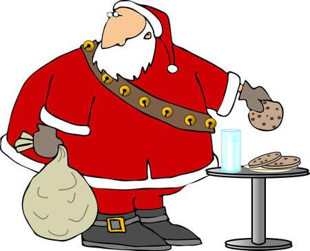 Santa eating cookies and milk photo