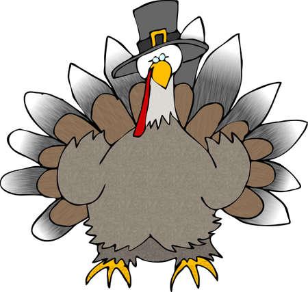 Turkije draagt een hoed Pilgrim Stockfoto