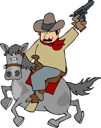 Ridem cowboy Ilustrace