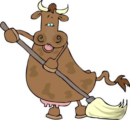 Cow using a mop