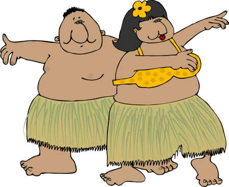 Hula dancers Illustration
