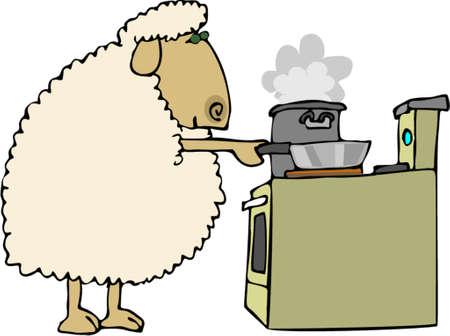 Sheep for dinner 向量圖像