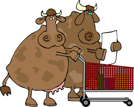 Cow Shoppers Ilustrace
